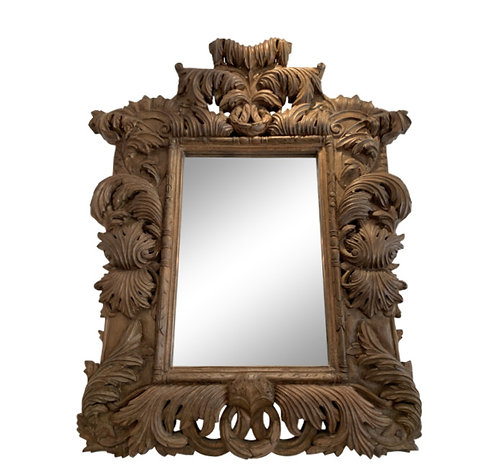 HEAVILY CARVED WOOD MIRROR
