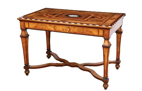 EUROPEAN BURL WALNUT WRITING TABLE