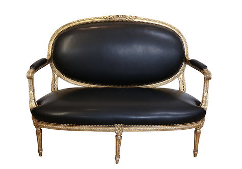 ANTIQUE BLACK LEATHER SETTEE