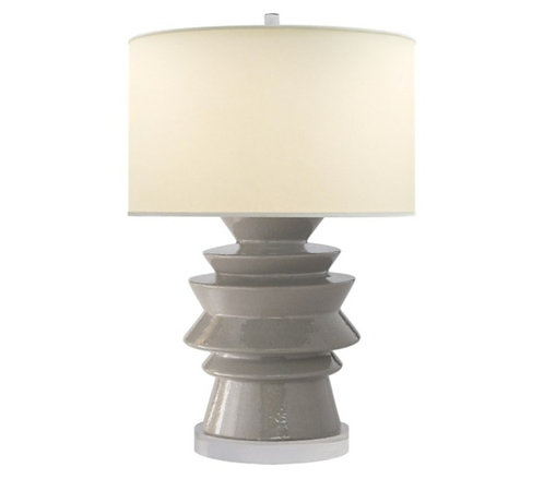 PAIR OF GREY DISK TABLE LAMPS