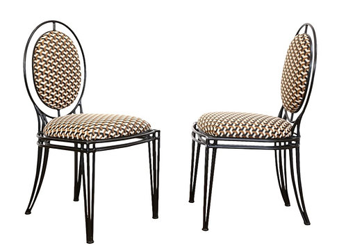 PAIR OF IRON OVAL BACK CHAIRS