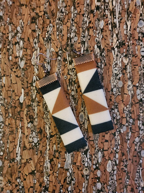 Caramel brown, black and off-white geometric earrings (asymmetrical)