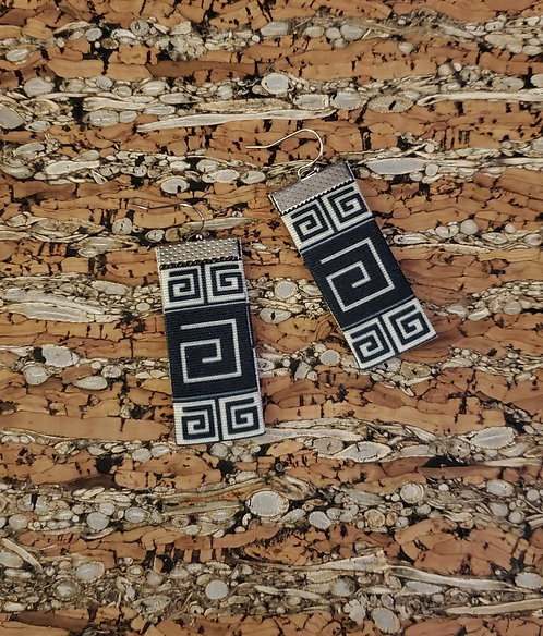 Greek Key earrings multi design in black and off-white