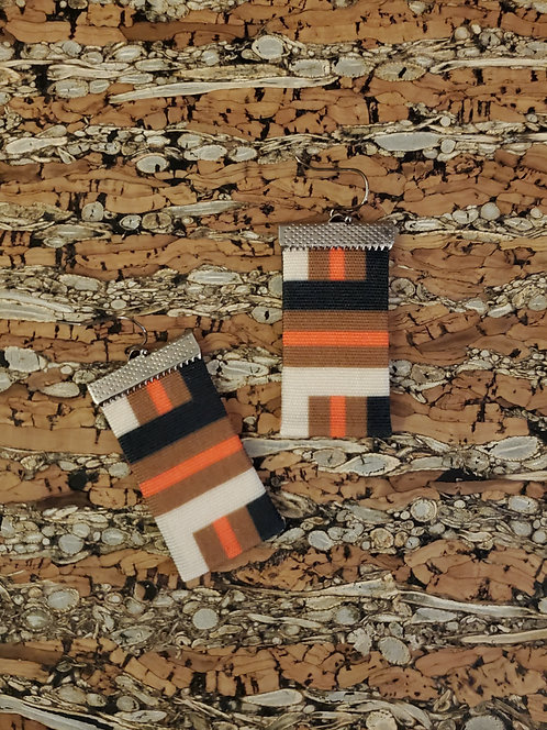 Chunky geometric in orange, brown, black and off white