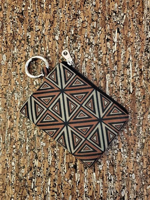 Mini Wallet in brown, grey, and black geometric design