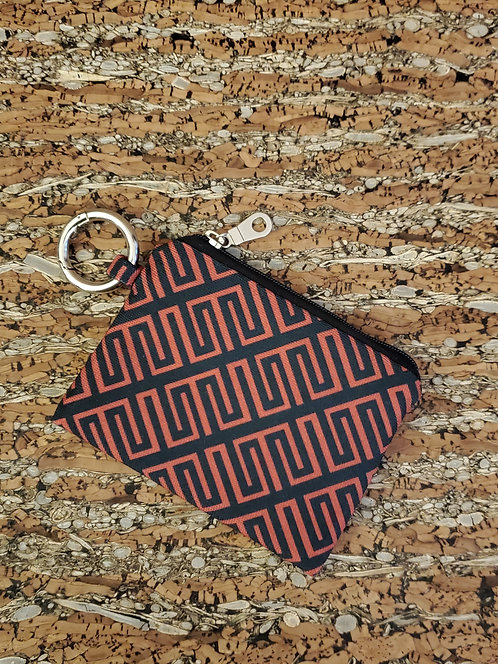 Mini Wallet in red and black diagonal pattern