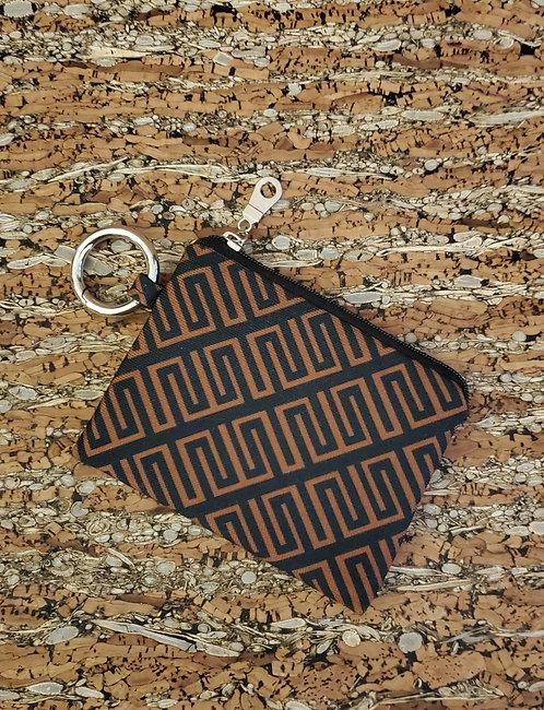 Mini Wallet in black and brown diagonal geometric pattern