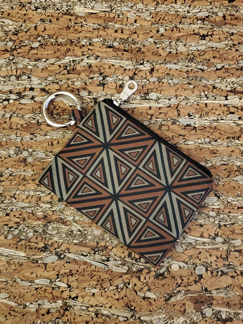 Mini Wallet in brown, grey, and black geometric design