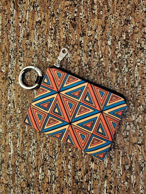 Mini wallet in red, blue, brown and gold geometric pattern