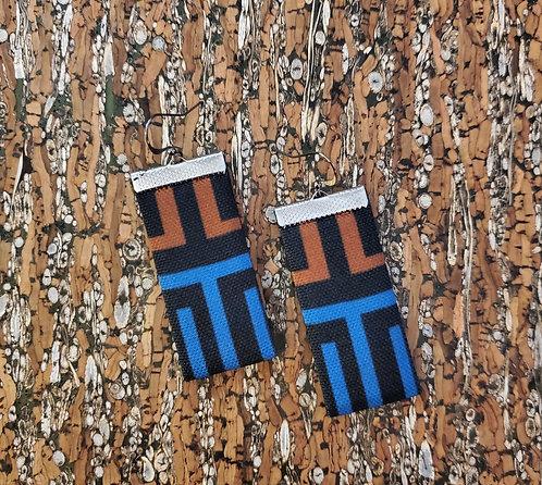 Geometric earrings in black, caramel brown and blue