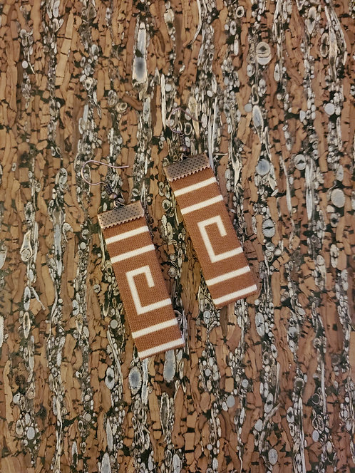 Caramel brown and off white Greek key inspired earrings