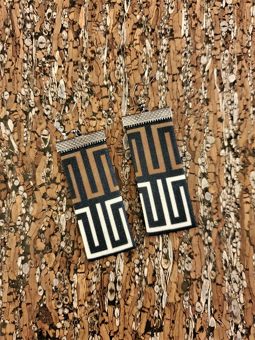 Chunky unique geometric earrings in black, brown and off white