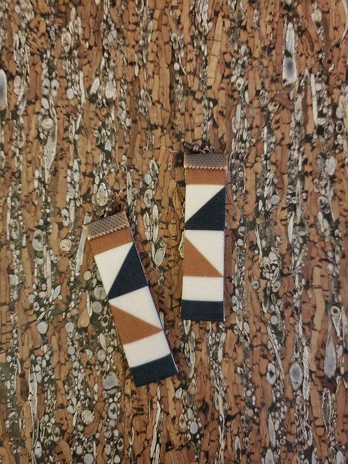 Black, caramel brown and off-white geometric earrings