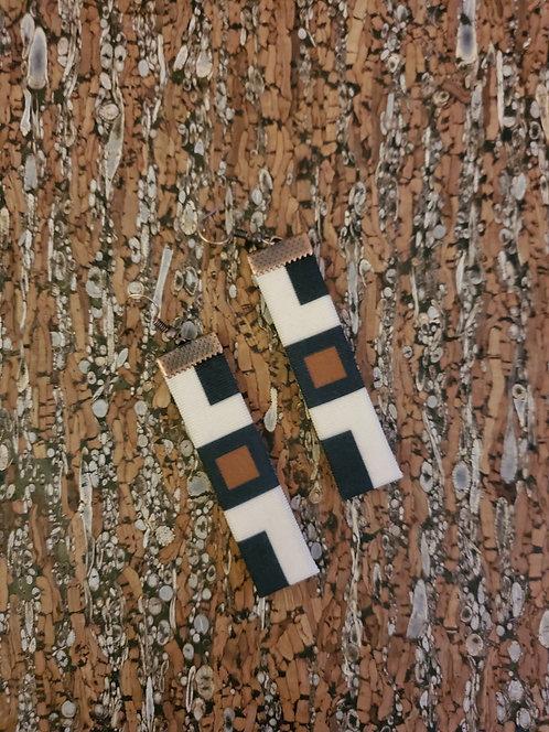 Black, brown and off-white geometric earrings