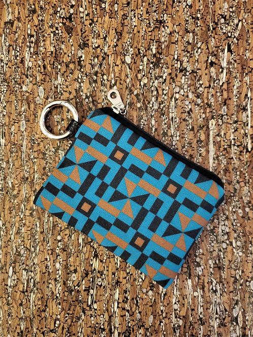 Mini Wallet in teal, brown and black geometric pattern