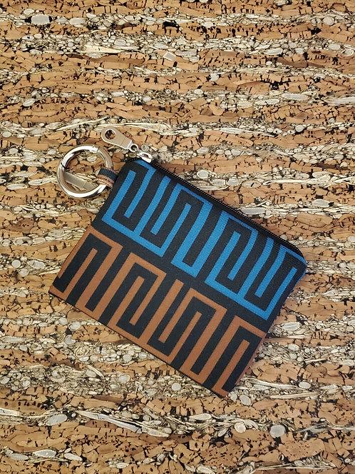 Mini Wallet in blue, brown and black geometric pattern