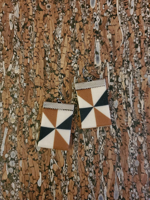 Caramel brown, black and  and off-white Geometric
