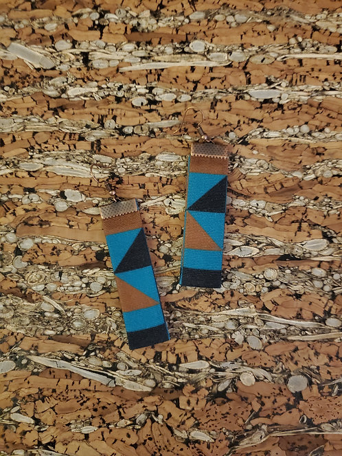 Teal, brown and black triangle earrings