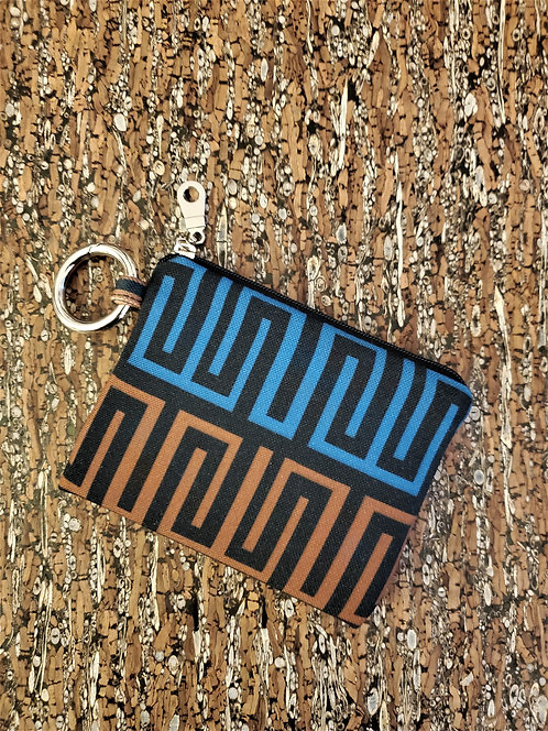 Mini Wallet in blue, brown and black geometric pattern