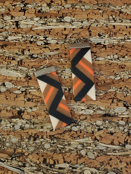 Rectangle Geometric in brown, orange, black and off white