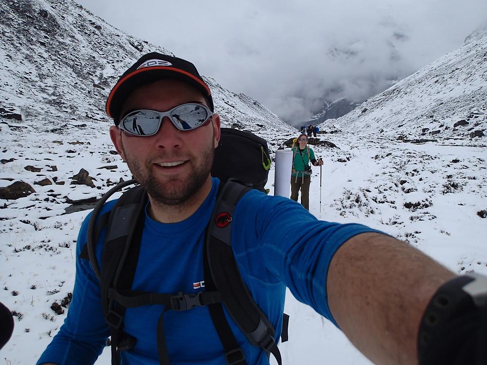 Matt in Nepal wearing EDZ
