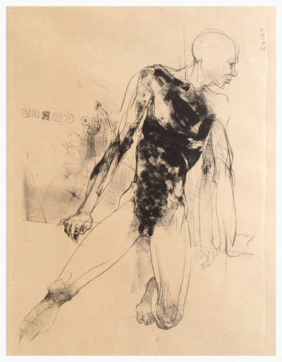 """""""Who Cares""""  Lithograph 22""""x 28"""" 1993"""
