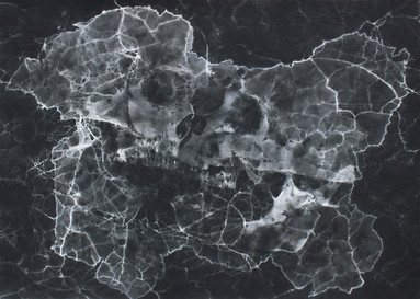 Fragmented Landscape 29.5'' x 41'' Iron Oxide pigment on paper 2019
