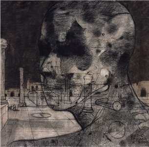 """""""""""Lonely Visitor'' Charcoal on Canvas 30''x 32'' 1999"""