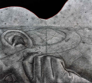 """""""For the People"""" 56''x 62'' Charcoal on Canvas 2006"""