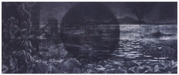 ''The Black Moon'' Charcoal on Canvas 30'' x 72'' 2014