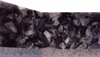 """""""Emerged from Dark"""" Charcoal & Acrylic on Canvas 75''x 166"""" [Diptych] 2001"""