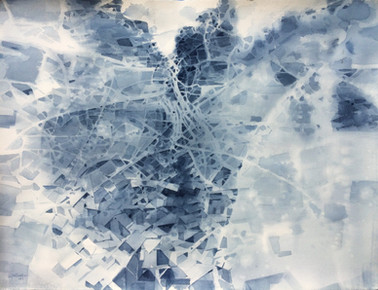 """Dissection of A City  22""""x30"""" watercolor on paper 2016"""