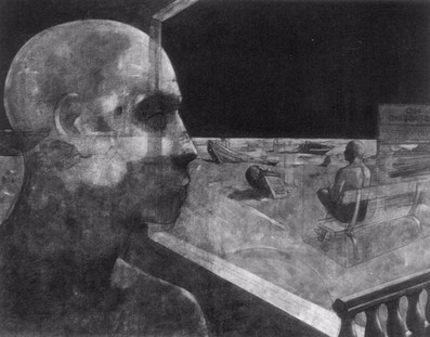 """""""Not Metaphysical"""" 48""""x60""""  Charcoal on Canvas 1999"""