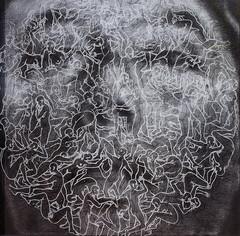 ''Polygamist'' Laser Etching on Plexiglas & Charcoal on Canvas 36'' x 36'' 2011