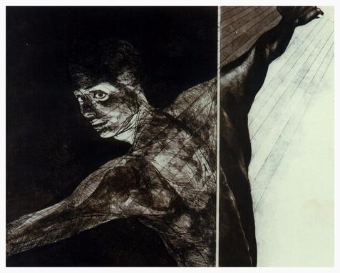 ''Prisoner-1'' Etching & Aquatint 22''x 27'' 1995