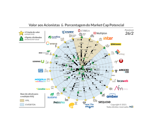 Suzano, SLC, Romi e Cyrela dominam Valor aos Acionistas em fev/21; Mosaico destaca-se nos 12 IPOs