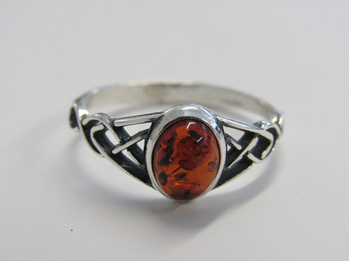 Sterling silver cognac amber with celtic shoulders