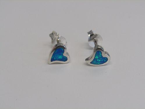 Sterling silver blue opal heart studs
