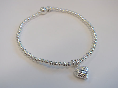 """Sterling silver stretchy bead bracelet with """"filigree heart"""" charm"""