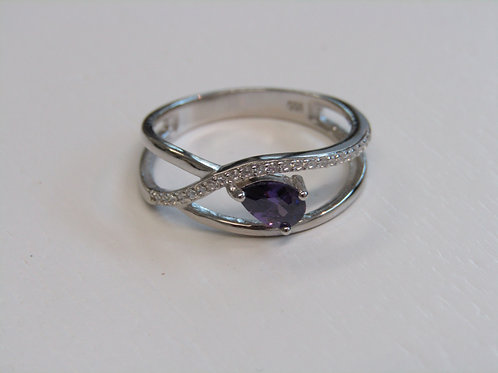 Sterling silver clear and iolite cz ring