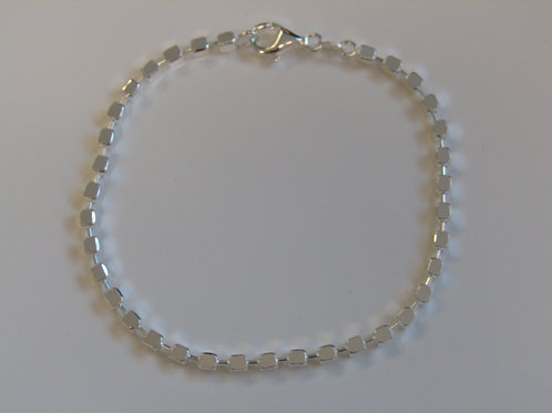 Sterling silver square bead bracelet