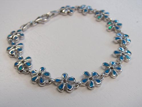 Sterling silver blue opal flower bracelet