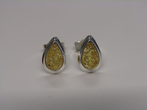 Sterling silver yellow amber teardrops