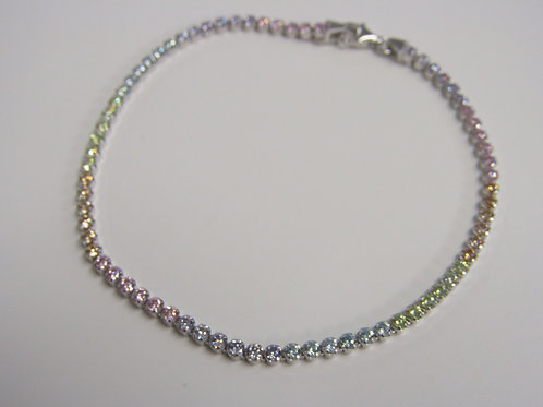 Sterling silver with rainbow cubic zirconia bracelet
