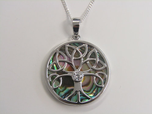 Sterling silver paua shell tree of life