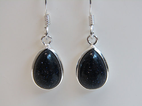 Sterling silver and blue goldstone drops