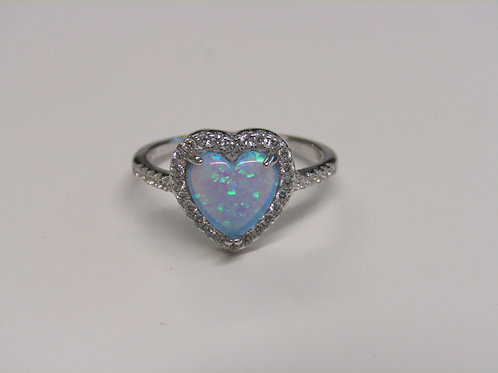 Sterling silver and created opal heart ring
