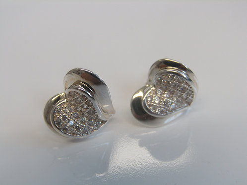 Sterling silver sculpted hearts with cubic zirconia