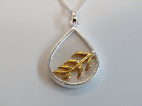 Sterling silver mother of pearl with gold plate leaves