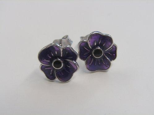 Sterling silver purple enamel poppy studs